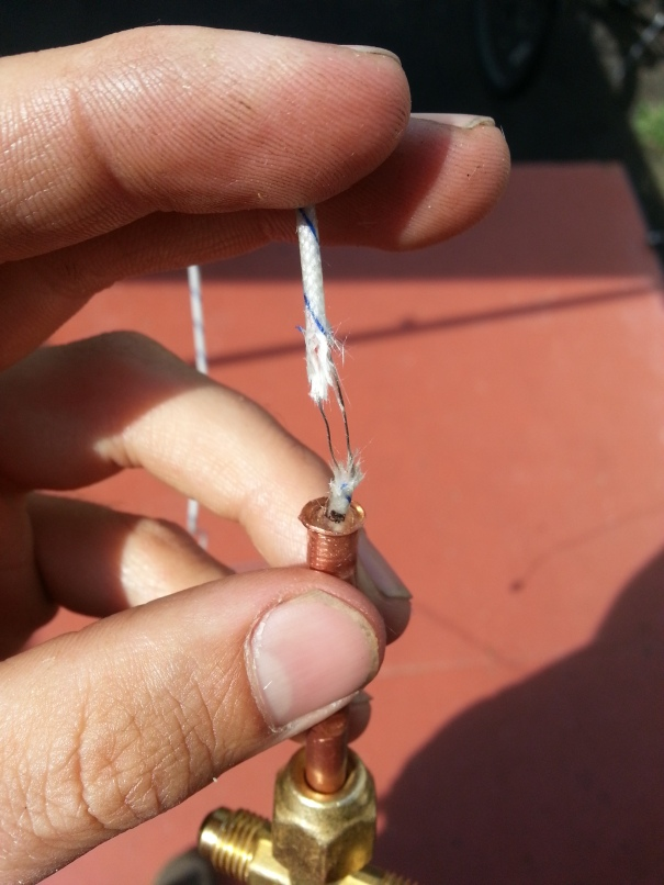 thermistor insulation stripped